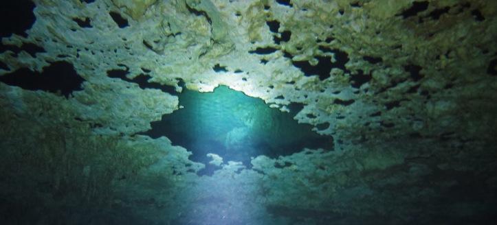 A plafonon látható olajszerű foltok a búvárok által kifújt levegő
